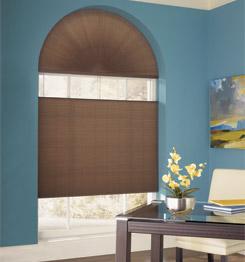 különleges megoldás íves nehezen függönyözhető ablakaira